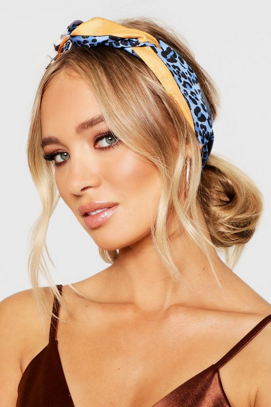 Womens Blue Leopard And Stripe Satin Headscarf