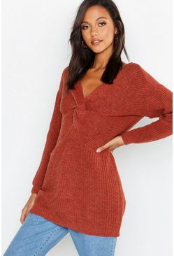 Womens Rust Twist Front Longline Jumper