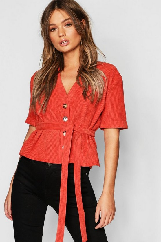 Womens Rust Button Down Belted Cord Shirt