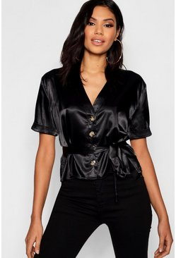 Womens Black Satin Button Tie Waist Blouse