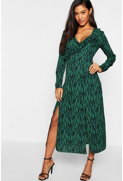 Womens Emerald Zebra Print Wrap Midi Dress