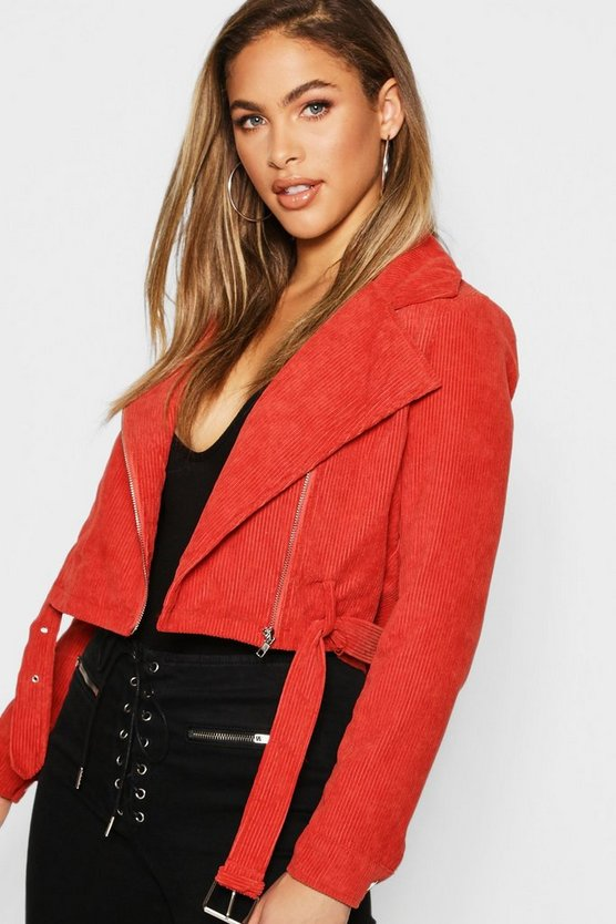 Cord Zip Through Belted Jacket