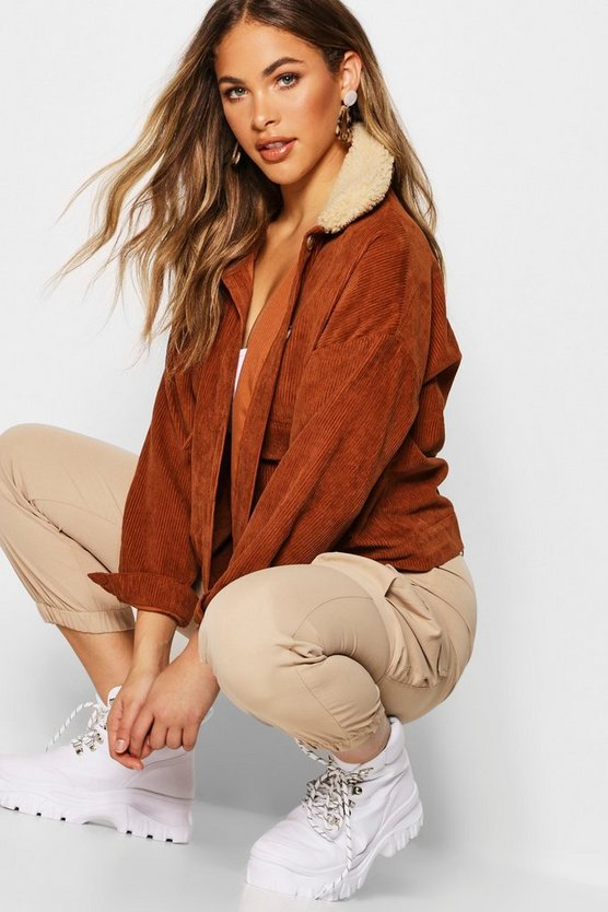 Womens Brown Shearling Cord Trucker Jacket