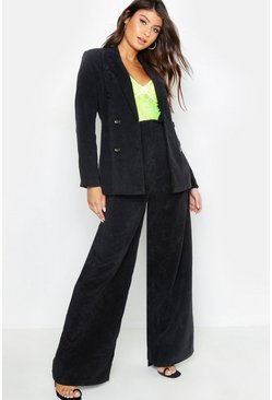 Womens Black Double Breasted Cord Blazer