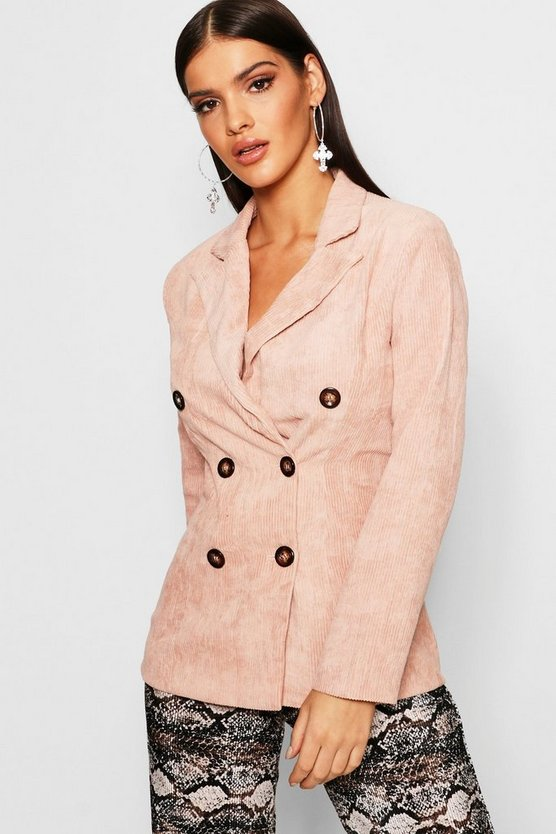 Womens Blush Double Breasted Cord Blazer