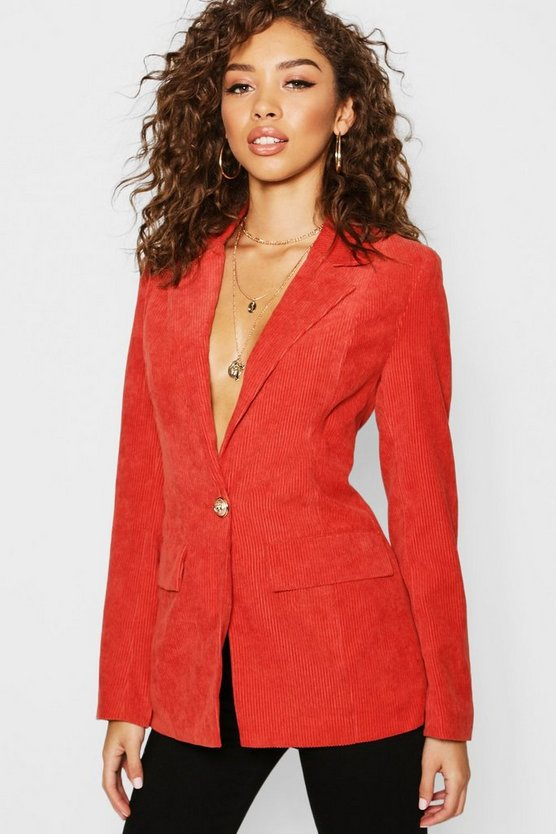 Rust Cord Button Pocket Front Blazer