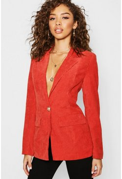 Womens Rust Cord Button Pocket Front Blazer