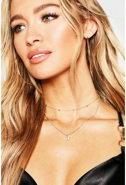 Womens Gold Bee Choker Chain Layered Necklace