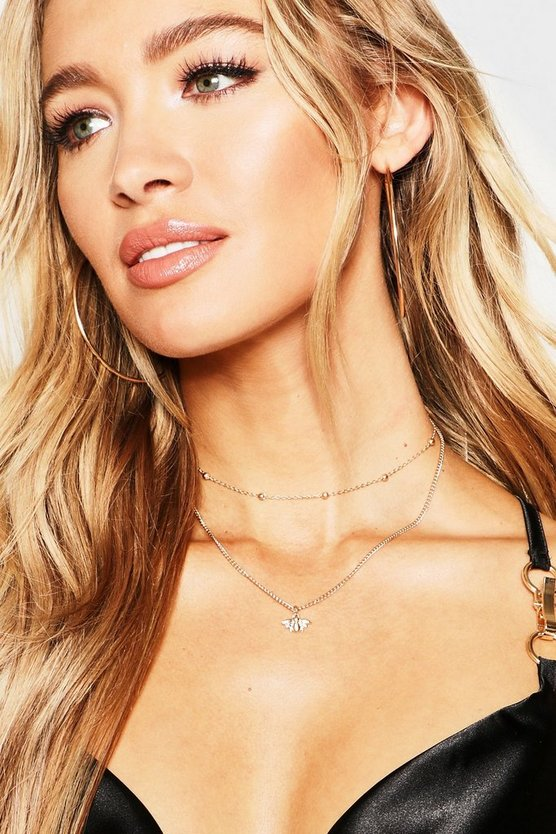 Bee Choker Chain Layered Necklace