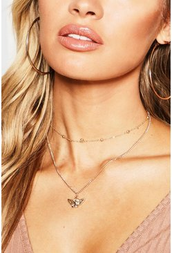 Womens Gold Angel Choker Chain Layered Necklace