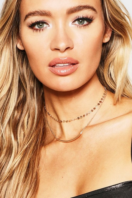 Simple Chain Curved Bar Layered Choker
