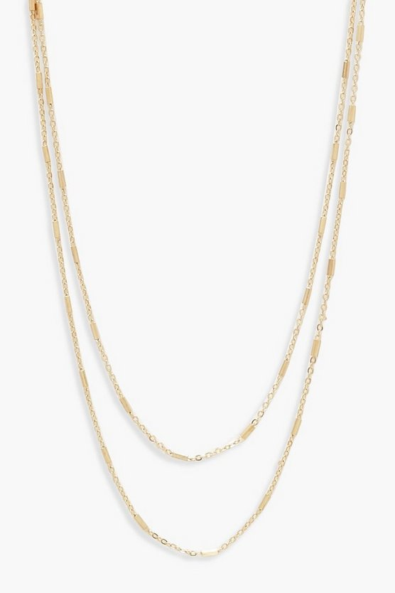 Womens Gold Simple Layered Choker