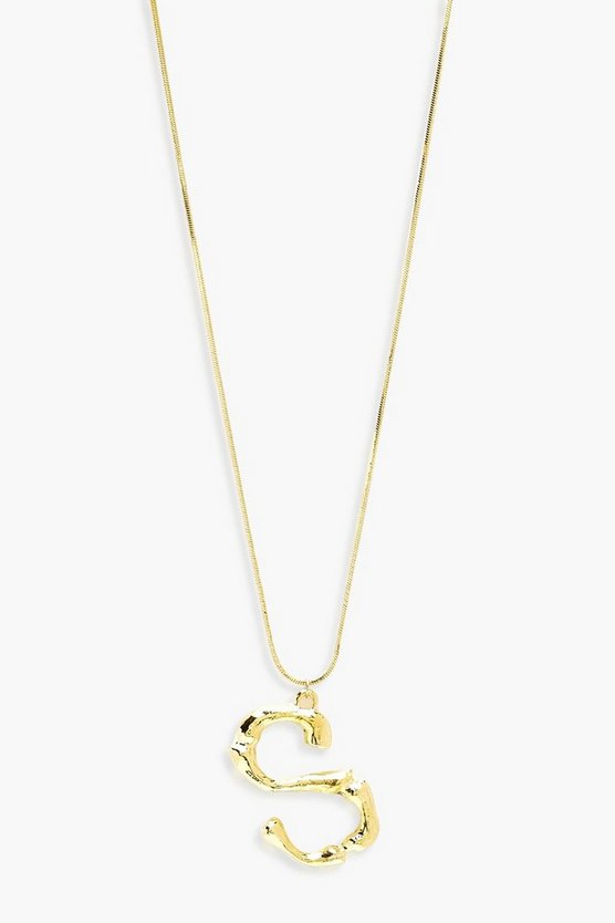 Womens Gold Hammered Effect S Initial Pendant