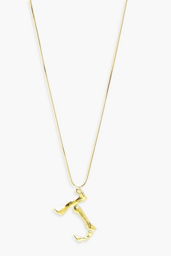 Womens Gold Hammered Effect J Initial Pendant