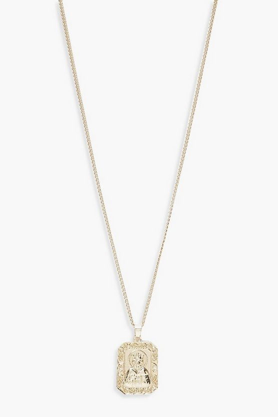 Womens Gold Square Talisman Necklace