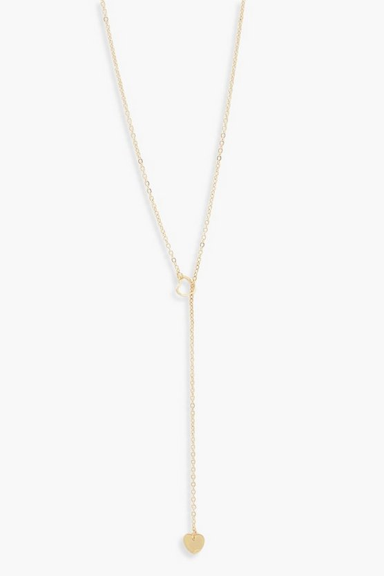 Womens Gold Heart Loop Necklace