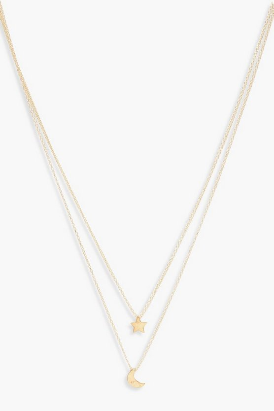 Womens Gold Moon & Star Layered Necklace