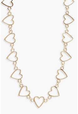 Womens Gold Oversized Heart Linked Necklace