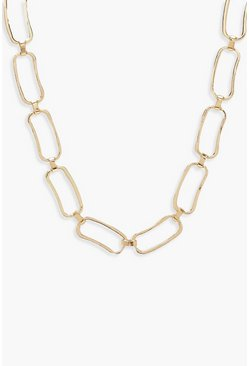 Womens Gold Chunky Linked Circle Necklace