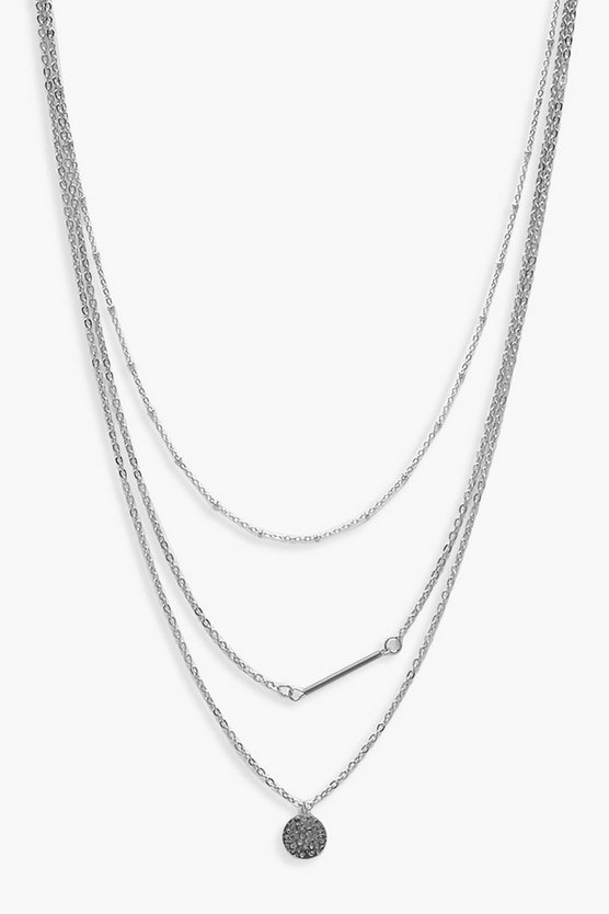 Womens Silver Coin Detail Choker Layered Necklace