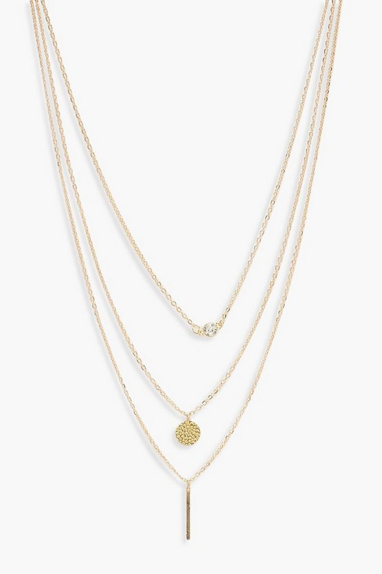Womens Gold Diamante & Coin Layered Necklace