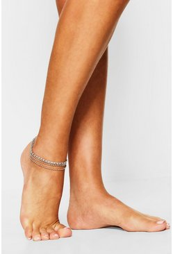 Womens Silver Diamante Anklet