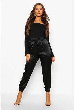 Womens Black Satin Utility Jogger
