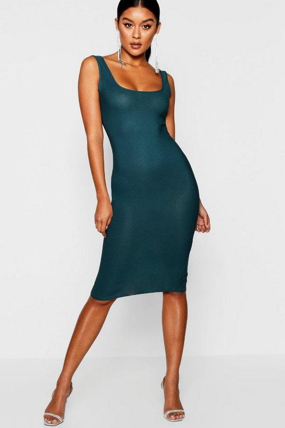 Womens Emerald Longline Square Neck Midi Dress