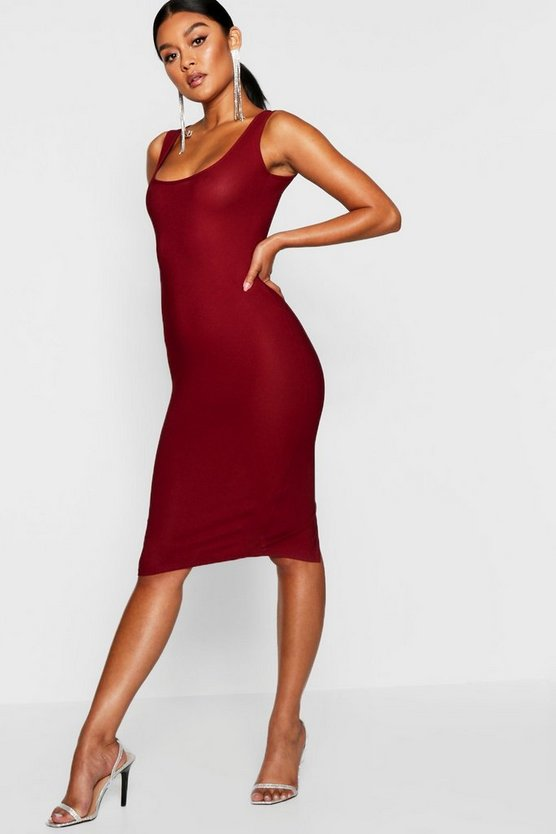 Wine Longline Square Neck Midi Dress