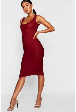 Womens Wine Longline Square Neck Midi Dress