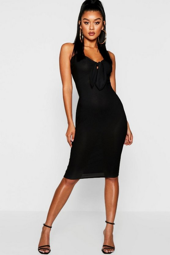 Womens Black Skinny Strap Tie Front Midi Dress