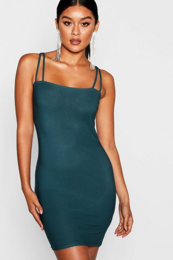 Womens Emerald Square Neck Cross Strappy Bodycon Dress