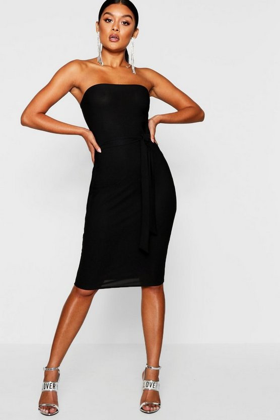 Womens Black Bandeau Tie Belt Midi Dress
