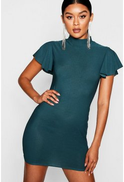 Womens Emerald High Neck Frill Sleeve Bodycon Dress