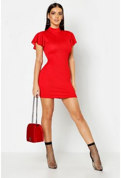 Womens Red High Neck Frill Sleeve Bodycon Dress