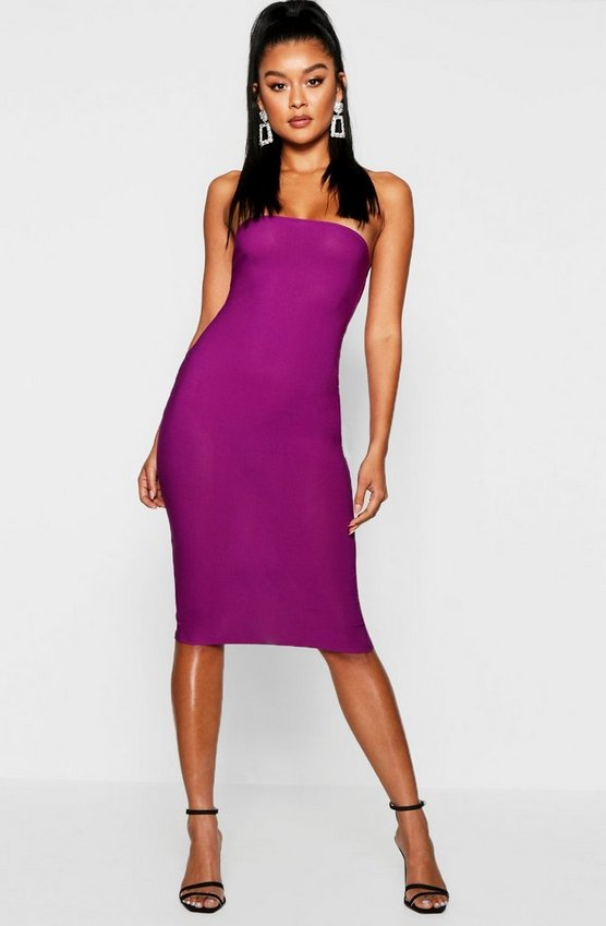 Womens Jewel purple Bandeau Midi Dress
