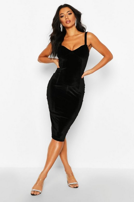 Womens Black Velvet Bustier Midi Dress
