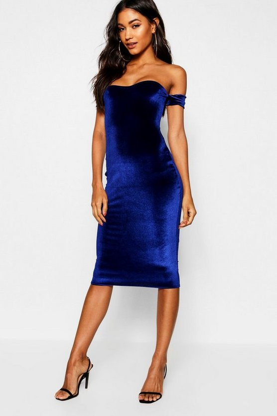 Womens Navy Velvet Off The Shoulder Midi Dress