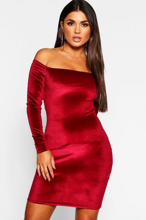 Womens Berry Off Shoulder Long Sleeve Velvet Bodycon Dress