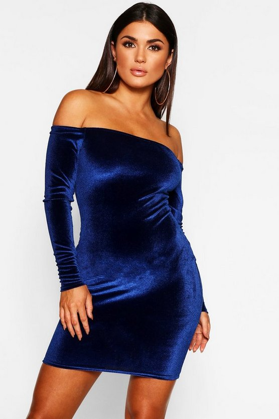 Off Shoulder Long Sleeve Velvet Bodycon Dress