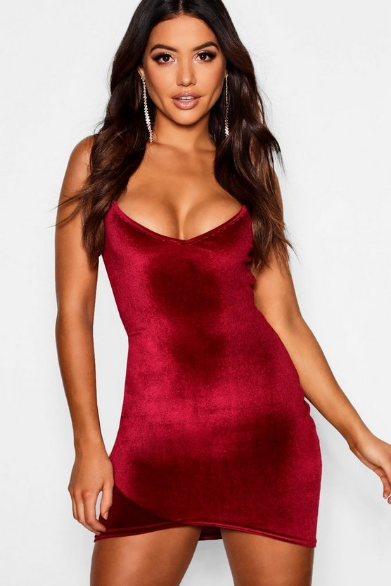 Womens Berry Velvet Strappy Plunge Wrap Bodycon Dress