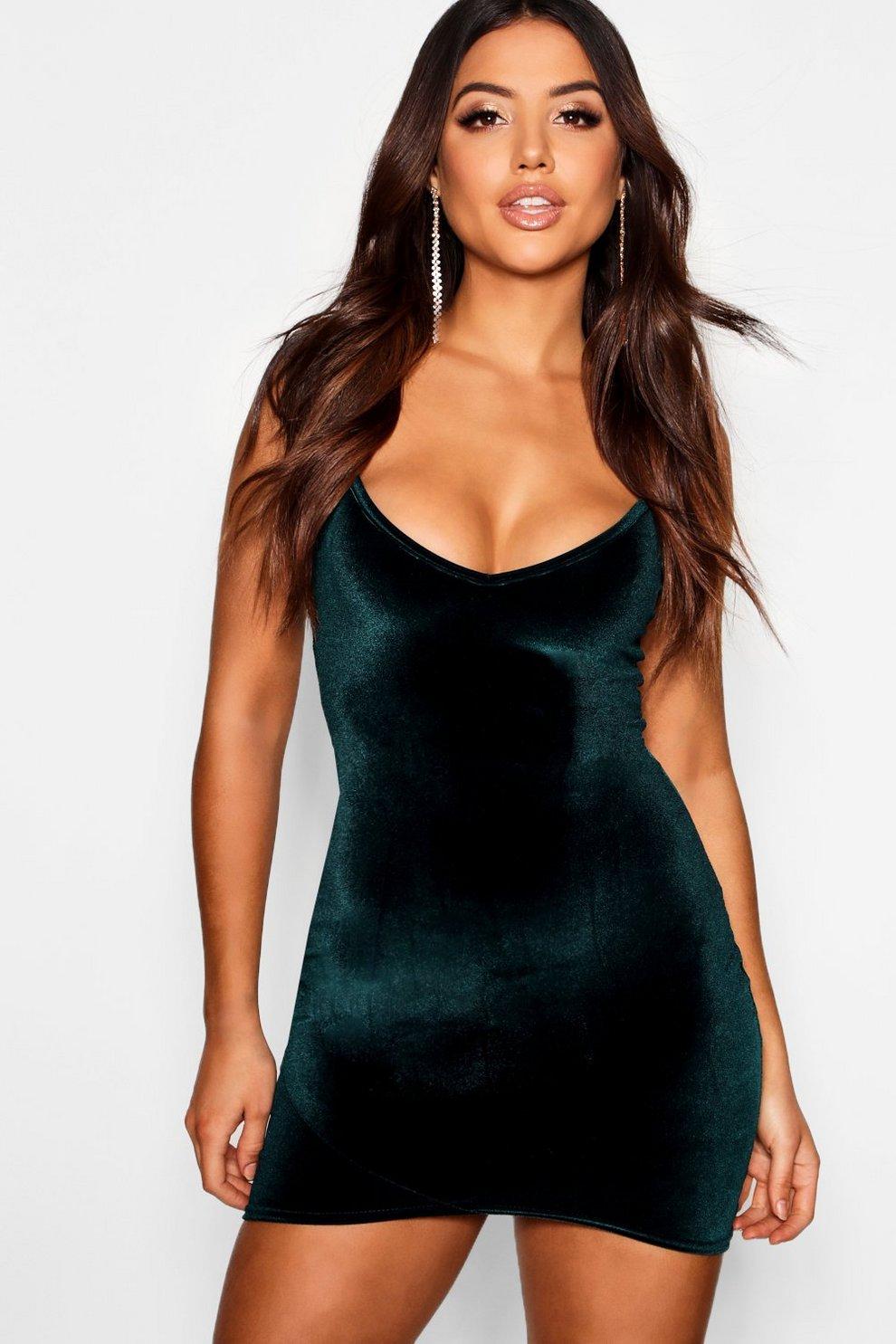 7f2e411d51 Velvet Strappy Plunge Wrap Bodycon Dress