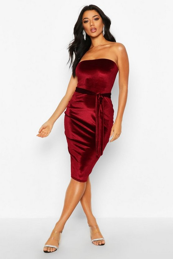 Womens Berry Velvet Bandeau Belted Midi Dress