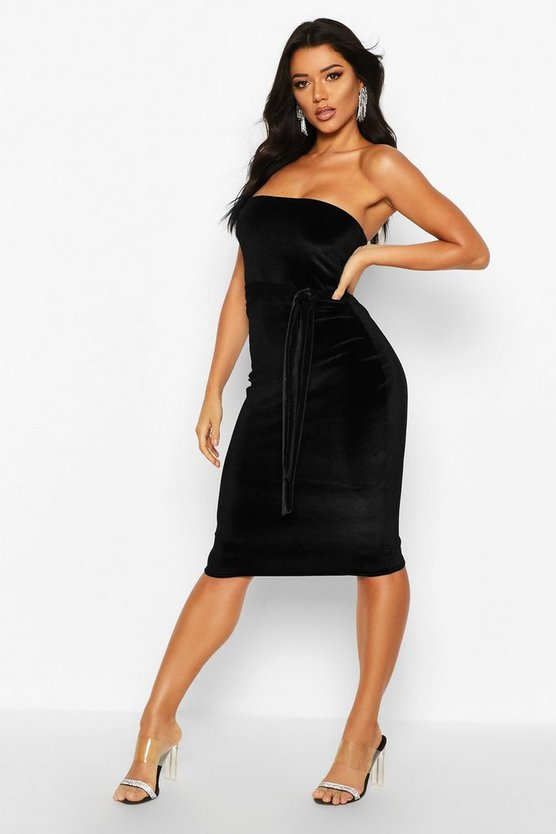 Womens Black Velvet Bandeau Belted Midi Dress
