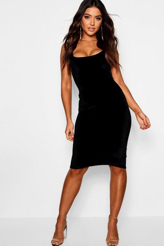 Womens Black Velvet Longline Neck Midi Dress