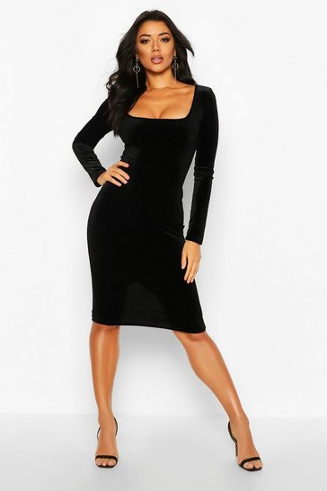 Womens Black Velvet Square Neck Long Sleeve Midi Dress