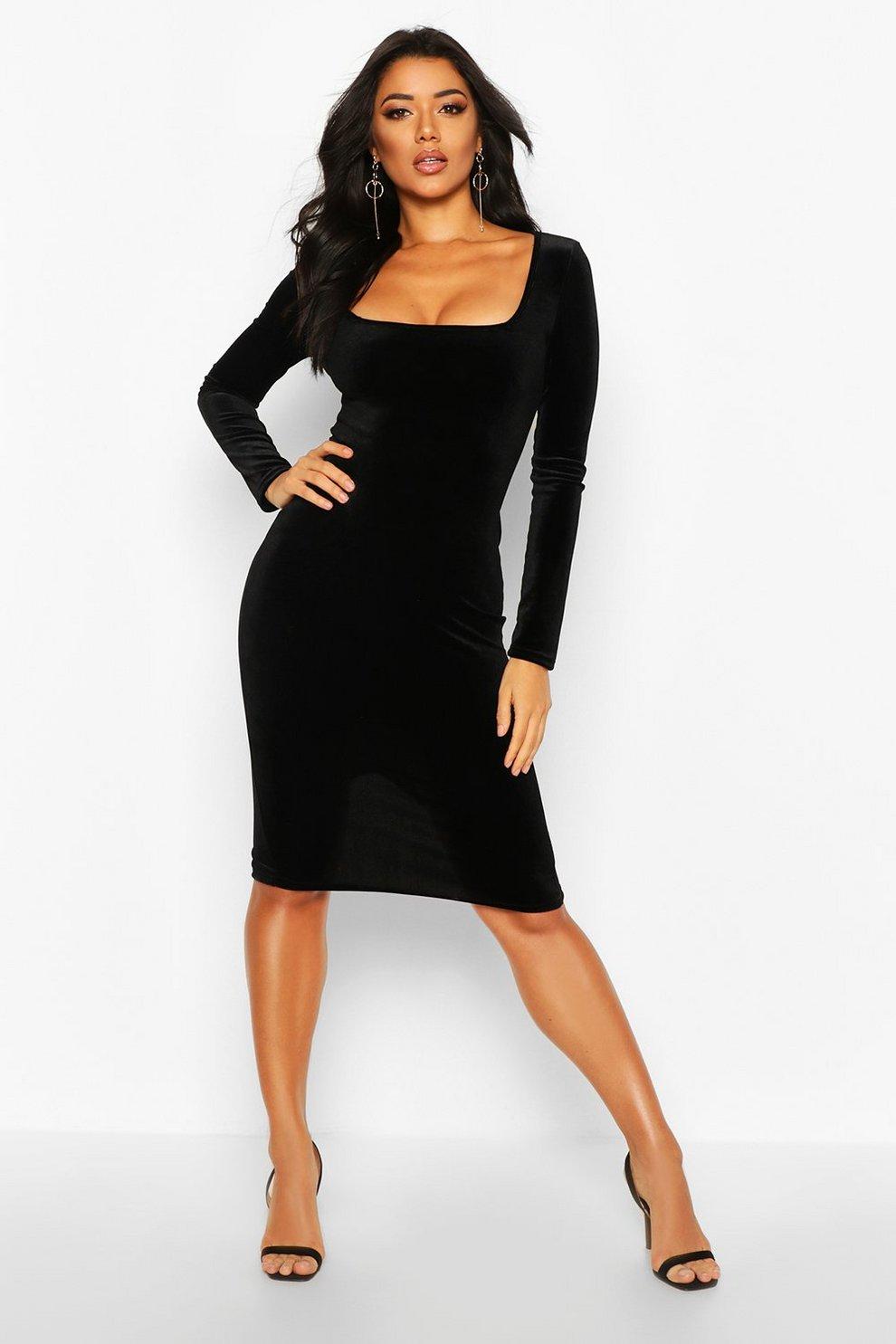 87ceec72377 Womens Black Velvet Square Neck Long Sleeve Midi Dress