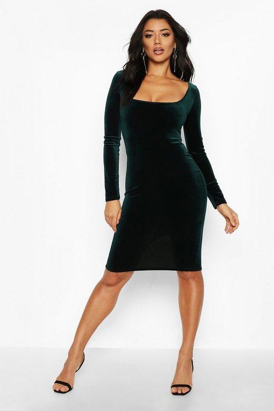 Velvet Square Neck Long Sleeve Midi Dress