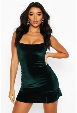 Womens Emerald Velvet Square Neck Frill Hem Bodycon Dress