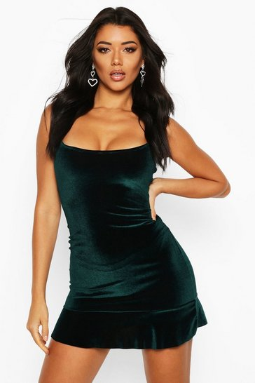 Emerald Velvet Square Neck Frill Hem Bodycon Dress
